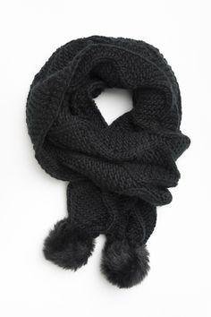 Black cable knit scarf with pompoms #ARDENEWISHLIST