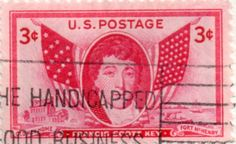 US postage stamp, 3 cents.  Francis Scott Key.  Old Key Home.  Fort McHenry.  Issued 1948.  Scott catalog 962.