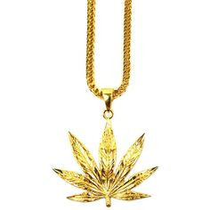 The Gold Gods The Weed Leaf Necklace ($80) ❤ liked on Polyvore featuring mens, men's jewelry and gold
