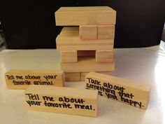 How to make and play: On a regular Jenga set, I wrote conversation starters on each of the blocks.  As a student picks a block, he/she reads...