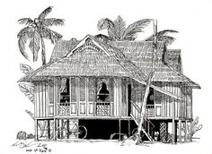 Rumah Kampung (Large) Framed Art Print by Art Liberates - Vector Black - Building Drawing, Building Sketch, House Sketch, House Drawing, Sketch Bar, Large Framed Art, Framed Art Prints, Framed Wall, Wall Art