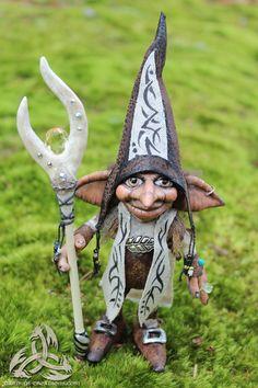 Mugwart Magical Troll Wizard OOAK Art Doll custom sculpted with Love. $300.00, via Etsy.
