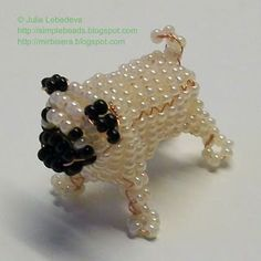 Jan 2016 - Free detailed tutorial with step by step photos on how to make a pug out of seed beads and wire in the technique of beading. Great for beginners! Beading Patterns Free, Seed Bead Patterns, Beaded Jewelry Patterns, Weaving Patterns, Free Pattern, Mosaic Patterns, Bracelet Patterns, Knitting Patterns, Beaded Crafts
