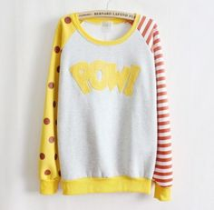Pow-Cartoon-Comic-Girl-Yellow-Kawaii-Cute-Thin-Layering-Pop-Color-Sweater-Shirt