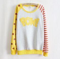 Pow-Cartoon-Comic-Girl-Yellow-Kawaii-Cute-Thin-Layering-Pop-Color-Sweater-Shirt