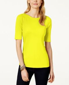 Charter Club Elbow-Sleeve Boat-Neck Pima Cotton T-Shirt, Only at Macy's | macys.com