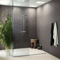 Porcelain stoneware wall/floor tiles with concrete effect FOSTER by INALCO #interiors #bathroom #bamboo