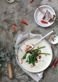 charred broccolini + burnt orange _ chilli + almonds