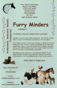 Professional care for your animals in their home enviroment www.furryminders.co.uk