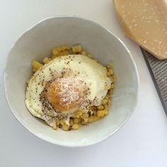 End-of-Summer Corn with Fried Egg + Parmigiano