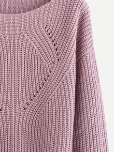 Shop Pale Purple Hollow Out Long Sleeve Sweater online. SheIn offers Pale Purple Hollow Out Long Sleeve Sweater & more to fit your fashionable needs.Product name: Drop Shoulder Eyelet Detail Sweater at SHEIN, Category: SweatersLooks like an easy to r Knitting Machine Patterns, Knitting Charts, Easy Knitting, Knitting Stitches, Knitting Patterns, Knitting Designs, Knitting Projects, Pulls, Long Sleeve Sweater