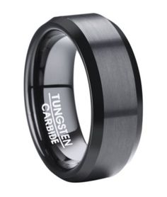 Classic Black Tungsten Ring for Men with Polished Beveled Edges Modern Mens Wedding Bands, Cool Wedding Rings, Wedding Ring Designs, Wedding Men, Wedding Ideas, Wedding Planning, Wedding Stuff, Black Tungsten Rings, Tungsten Wedding Rings