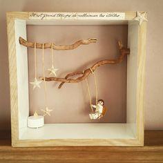 Cadre de décoration enfant, tableau 3D Personnage et citation