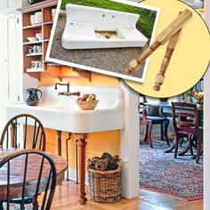 a farmhouse kitchen brightened up with color and rustic touches; inset of farmhouse sink and table legs