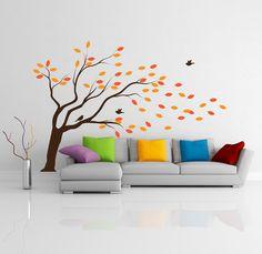 "Wall Decal Home Decor Vinyl Sticker Art Mural "" Autumn Tree "" 72.8'' x 107.4''. $115.00, via Etsy."