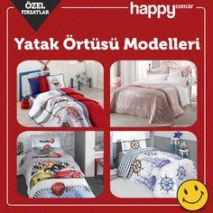 Şık ve zarif modelleri ile yatak örtüleri uygun fiyatlarla Hapy.com.tr'de sizleri bekliyor! Ürünleri incelemek için: https://www.happy.com.tr/ev-tekstili/nevresim-takimlari/ev-yasam/yatak-ortusu