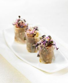 Duck and peanut cannelloni – Delicooks Gourmet Appetizers, Mini Appetizers, Gourmet Recipes, Proper Tasty, Carnival Food, Party Finger Foods, Food Decoration, Creative Food, Food Plating