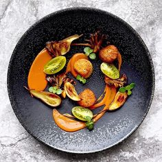 Seared scallops Guajillo eggplant purée Roasted eggplant Brown butter hen of the woods by @chef_louisrobinson
