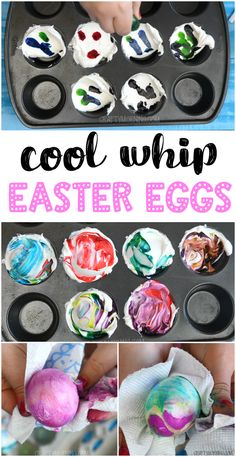 Cool whip easter egg decorating idea for kids to do! Easter egg unique dyeing idea. Using a muffin tin