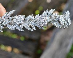 Strass Blume und Perle Blatt Braut Krone, Halo, Tiara--Bestellung Hochzeit Krone