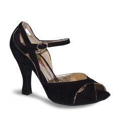 Amina - Rosso Latino - Chaussure de danse en daim noir et or