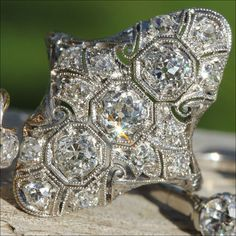 Vintage Platinum Art Deco Diamond Ring, from Victoria Sterling Antique Jewelry Antique Jewelry, Vintage Jewelry, Vintage Diamond, Vintage Rings, Art Deco Diamond Rings, Anniversary Bands, Art Deco Design, Art Deco Jewelry