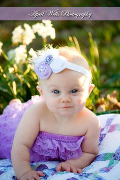 Hair bow and Ruffle Laveder Romper  newborn headband...perfect for photo props.... first birthdays...love this