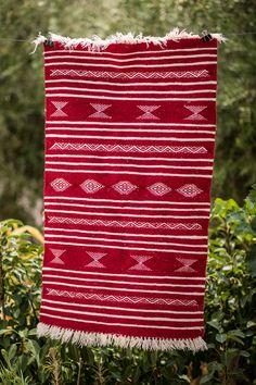 Vintage Kilim Rug Red White, Handmade of wool Handwoven in Tunisia x x - The Berber Rug Dark Red Background, Kilim Runner, X 23, Berber Rug, Kilim Rugs, Hand Weaving, Red And White, Wool, Handmade