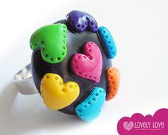 Handmade polymer clay ring / Heart to Heart    ♥♥♥
