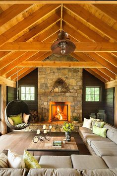 Timeless Adirondack Cabin with Timber Frame Roof Ceiling in Upstate New York.
