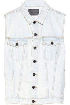 Pull your look together with a denim vest by Proenza Schouler Denim Waistcoat, Estilo Jeans, Bleached Denim, Summer Denim, Blue Vests, Discount Designer Clothes, Light Denim, Proenza Schouler, Denim Fashion