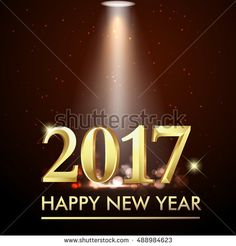 Happy New Year 2017. Gold party poster, banner or invitation. background glowing element. Vector Illustration
