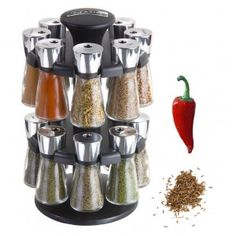 Cole & Mason Herb and Spice Rack with Spices - Revolving Countertop Carousel Set Includes 16 Filled Glass Jar Bottles Spice Rack Carousel, Kitchenaid Artisan Mixer, Salt And Pepper Grinders, Knife Block Set, Candy Apples, Traditional Kitchen, Can Opener, Glass Jars, Bedding Shop