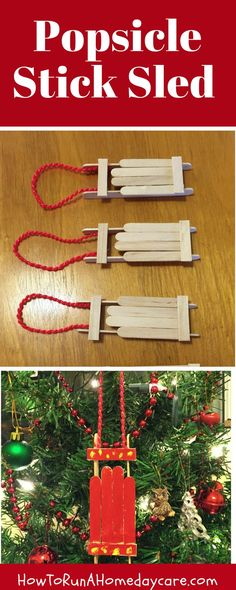 Spend some one-on-one time with your children while you work together to make these adorable wooden sled ornaments.