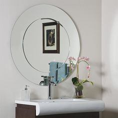 Oriana Modern Round Beveled Bathroom Mirror Decor Wonderland Round Mirrors Home Decor
