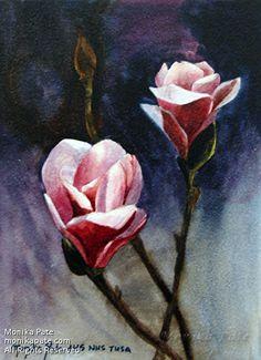 Magnolia Blossom #1 by Monika Pate Watercolor ~ 7 x 5