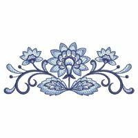 WindBell Embroidery -   Blue Jacobean Floral Borders - Oregon Patch Works