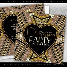 Gold Black 1920 Art Deco Love Mix Dinner Party Invitations by Paperstation | zazzle