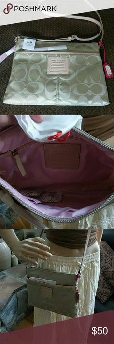 """Black Friday First Come First Serve Coach NWT Coach Legacy Weekend Signature Hippie NWT Khaki Nylon 11"""" L x 8"""" H x 1"""" W Never used perfect condition comes with dust bag retails for $148 multiple available Perfect Christmas gift NEW IN Package! Coach Bags"""