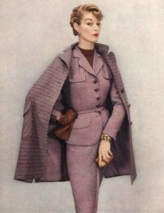 Jean Patchett wearing a suit and coat by Klein & Klein Sportswear, 1952 THIS is Ellen. Jean Patchett wearing a suit and coat by Klein & Klein Sportswear, 1952 Fifties Fashion, Retro Fashion, Vintage Fashion, Womens Fashion, 1950s Fashion Women, Luxury Fashion, Fashion 2017, Moda Vintage, Vintage Mode