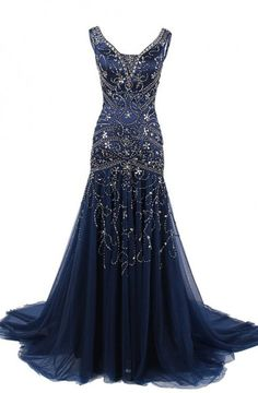 Stunning Mermaid V Neck Tulle Long Prom Dress With Embroidery ==