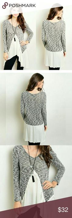 """Boho Tunic Top Marled grey and ivory boho tunic. Long flowy loose and fitting .  Material: 59% rayon 5% polyester 36% spandex  Made in USA    Flat Measurements : Small: length 25 - 32"""" chest 16"""" hip 22"""" arm 23"""" Medium: length 26-32"""" chest 17"""" hip 22.5 arm 24"""" Large: length 26.5- 34 chest 17.5 hip 23.5 arm 25"""" preppybohemian  Tops Tunics"""