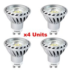 Xpeoo® 4 unidades de 6W Bajo Consumo Bombilla Lámpara LED GU10 Igual a Halógena de 50W 520lm, Foco Luz Spot Down light lamp bulbs, Iluminación, Blanco Cálido 2700-3000k AC 85-265V: Amazon.es: Iluminación