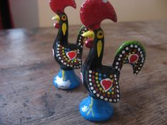 SOLD Vintage Roosters of Barcelos. Portuguese lucky symbol, small good luck charm. Legend of Portugal, folk art figurine. Handpainted Cast Metal. @PumpjackPiddlewick on Etsy