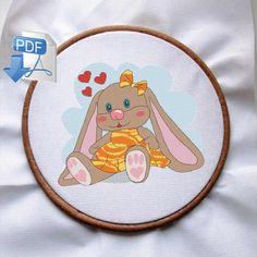 Bunny cross stitch, easter cross stitch pattern, easter bunny, baby cross stitch, cross stitch pattern modern, digital, Counted Cross Stitch