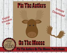 Pin The Antlers On The Moose Party Game INSTANT DOWNLOAD by PrintCutStudio | Etsy