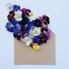 "fubiz: ""Flowers Bouquets in Vintage Envelopes """