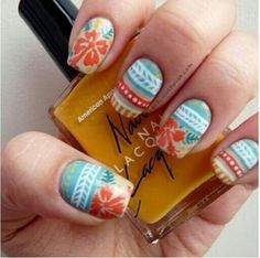 Hawaii Nails - thumb art on big toe, solid blue or with just white accent on other toes