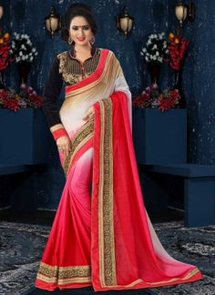 Glossy Pink And White Shaded Patch Border Work Saree  http://www.angelnx.com/Sarees
