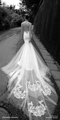 Stunning embroidered lace train on wedding gown | Alessandra Rinaudo 2016 Wedding Dresses via @WorldofBridal